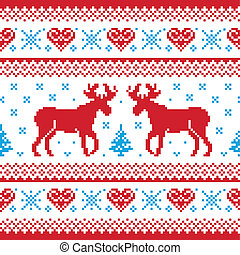 Christmas knitted pattern - Red and blue Xmas seamless...
