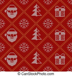 Christmas knitted seamless pattern with funny cartoon characters.