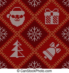 Christmas knitted seamless red pattern. Good for wrapping. All elements are on separate layers.