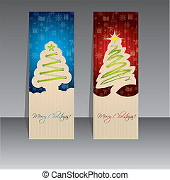 Christmas label design with green trees - Blue and red...