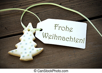 Christmas Label with Frohe Weihnachten - A Christmas Tree...