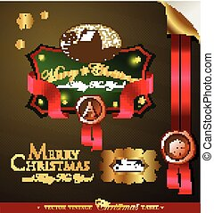 Christmas label with lovely winter landscape