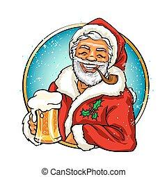 Christmas label with Santa