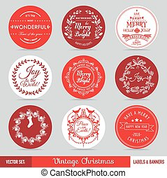 Christmas Labels, Banners and Tags Set - in vector