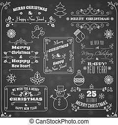 Christmas labels chalkboard set