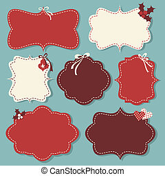Christmas Labels Collection - A set of Christmas vintage...