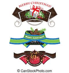 Christmas labels, set elements