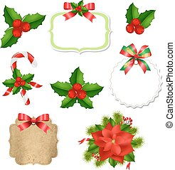 Christmas Labels Set With Red Bow And Holly Berry
