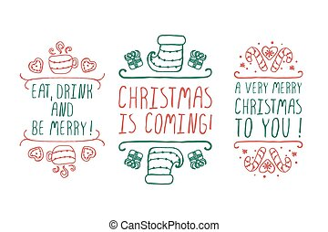Christmas labels with text on white background
