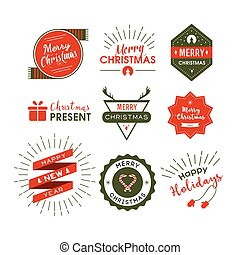 Christmas lables retro style. Vector design concept