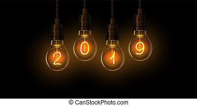 2020 happy new year vector. marquee light background ...