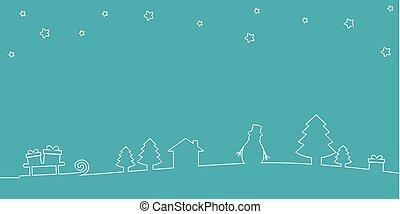 christmas landscape background line drawing