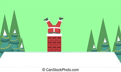 Christmas Landscape Background with Santa Claus footage