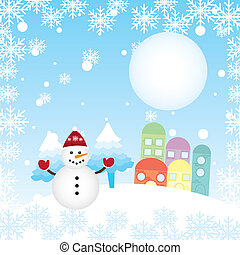 christams landscape with cute snowman and houses. vector