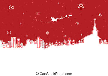 Christmas Landscape - illustration of winter landscape in...