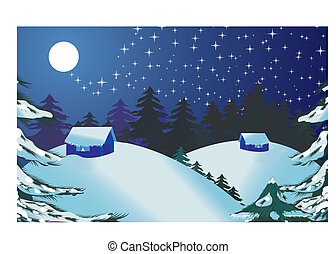 Christmas landscape - Merry Christmas and Happy New Year!...