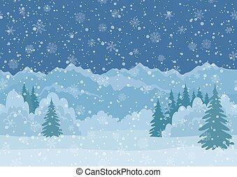 Christmas Landscape, Mountains, Seamless