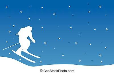 Christmas landscape people ski collection