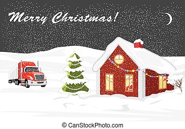 Christmas landscape. Postcard. Vector illustration