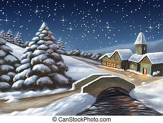 Christmas landscape - Enchanted Christmas landscape. Digital...