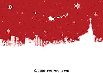 Christmas Landscape - illustration of winter landscape in...