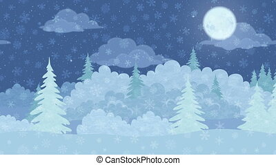 Christmas Landscape, Winter Forest, Seamless Loop