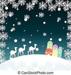 christmas landscape with camels, snowflakes and houses. ...