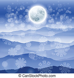 Christmas landscape with full moon