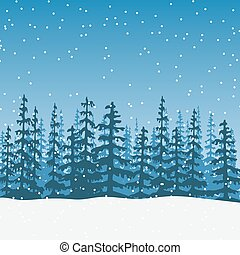 christmas Landscape with silhouette of forest twilight - ...