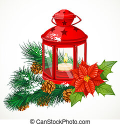Christmas lantern with a candle