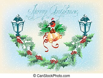 Christmas lantern with bullfinch, decorative spruce and holly berries