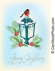 Christmas lantern with bullfinch, decorative spruce and holly berries on snowfall background