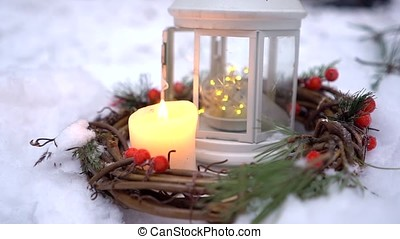 Christmas lantern with candle- - Christmas lantern with...