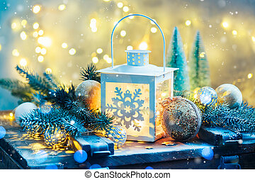 Christmas lantern with festive decoration