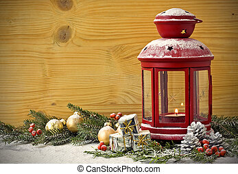 Christmas Lantern with Fir Tree on background