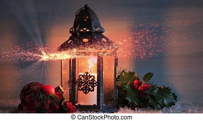 Christmas lantern with Holly leaves and berries.