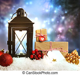 Christmas lantern with ornaments and presents - Christmas...