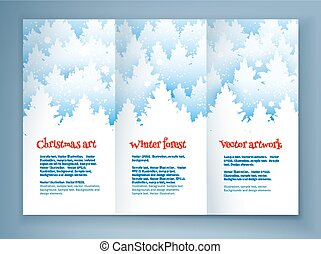 Christmas leaflet design template with winter spruce forest...