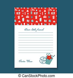 Christmas letter from Santa Claus template. Pattern with gift box pattern and postal stamp. Flat hand drawn vector design.