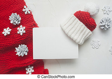 Christmas Letter mockup to Santa Claus with red knitted scarf and hat on background with cones and snowflakes. Place for your text