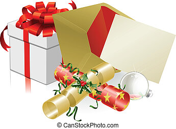 Illustration of Christmas letter or invite with crackers and baubles. Space for text.