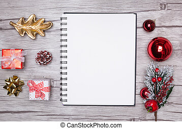 Christmas letter writing on white paper with decorations.