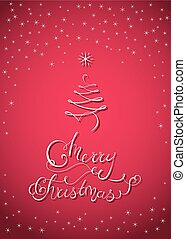 Christmas Lettering Card with X-Mas Tree