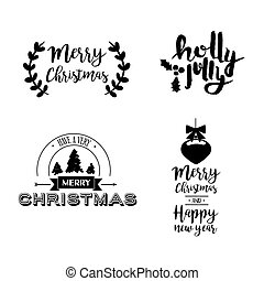 Christmas lettering holiday season art quote set