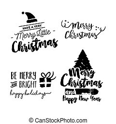 Christmas lettering holiday season art quote set - Merry...