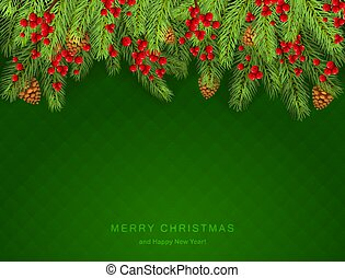 Christmas Lettering on Green Background with Holly Berries