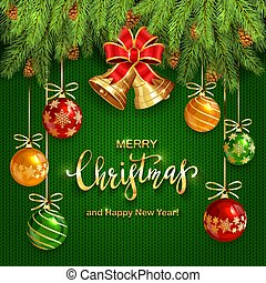 Christmas Lettering on Green Knitted Background with Golden Bells and Balls