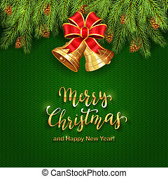 Christmas Lettering on Green Knitted Background with Golden Bells