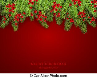 Christmas Lettering on Red Background with Holly Berries