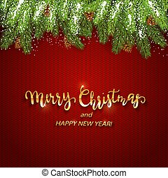 Christmas lettering on red knitted background with fir tree...